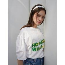 [21여름][Blue Label]레이스 패치 멀티 프린트 볼륨 티셔츠[EM2OTH07]