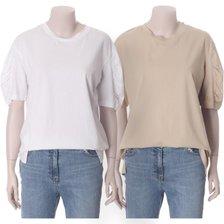 [20 여름]셔링 슬리브 코튼 티셔츠(7150240501)