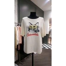 [19여름]큐빅 고양이 자수반팔 니트( SAKP43931)