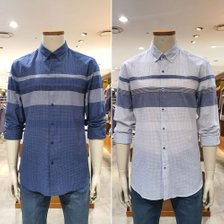 [올젠]코튼 컬러 블록 캐주얼셔츠 ZOB2WC1316