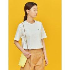 (BF1442U121)화이트 베이직 로고 자수 티셔츠