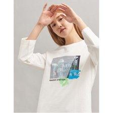 화이트 원포인트 7부 티셔츠 (BF0241U091)
