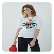[21여름]플라워 프린트 퍼프 소매 티셔츠[EM2OTH03]