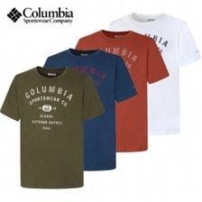 컬럼비아 S20  남성 면 프린팅 라운드 티셔츠 C12AE0402