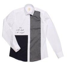 (19년 정상/긴소매 슬림핏) 도시적인 느낌의 앞판 블로킹+레터링 프린트 포인트 셔츠 RJFCS1503WH (레노마셔츠)