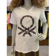 [19S/S] 꽃무늬 로고 브이넥 티셔츠 BATS99931_추가이미지