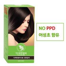 TS 착한염색약 6호 진한갈색 120g(TS 6g 파우치 10개 증정)