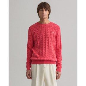 간트 남성 코튼 케이블 크루넥 스웨터 핑크 DG72110089 PI