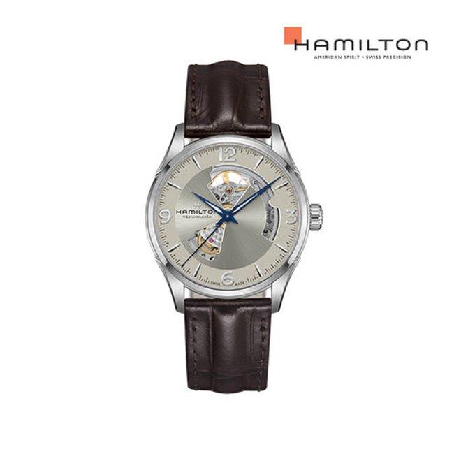 [공식] 해밀턴 H32705521 재즈마스터 오픈하트 오토 42mm 샴페인 다이얼 브라운 가죽 남성 시계