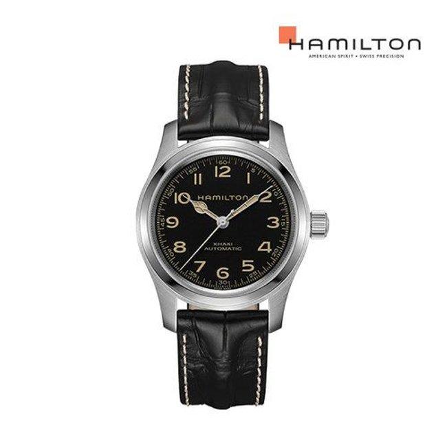 [공식]해밀턴 H70605731 카키 필드 머피 오토 42mm 블랙 가죽 남성 시계 (인터스텔라 머피 워치)