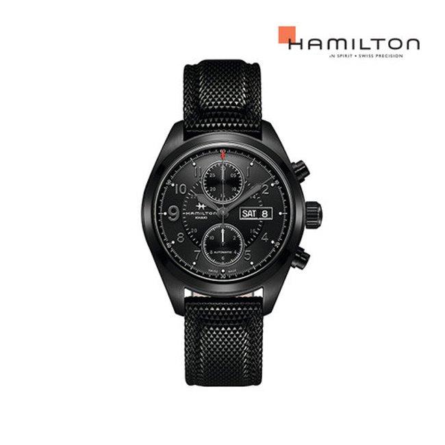[공식] 해밀턴 H71626735 카키 필드 오토크로노 42mm 블랙 러버 남성 시계
