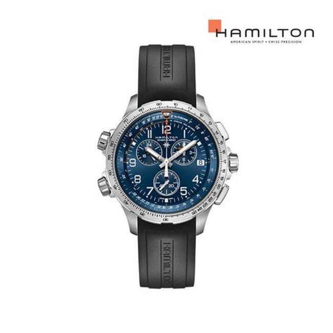 [공식] 해밀턴 H77922341 카키 에비에이션 X-Wind GMT 크로노 쿼츠 46mm 블루 다이얼 블랙 러버 남성 시계