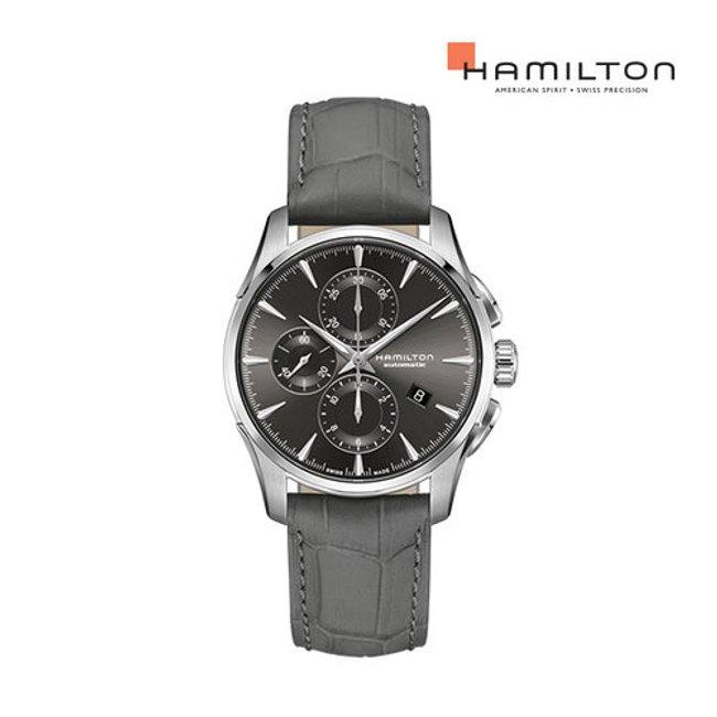 [공식] 해밀턴 H32586881 재즈마스터 오토 크로노 42mm 앤트러사이트 다이얼 그레이 소가죽 남성 시계